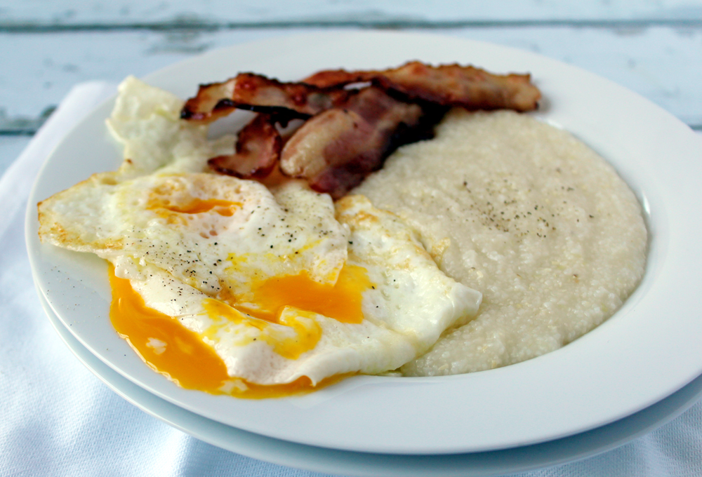 Grits, eggs, and bacon