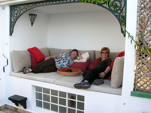 Relaxing with Susie at La Tangerina, Tangier