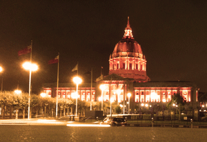 San Francisco City Hall bathes in an Orange October glow